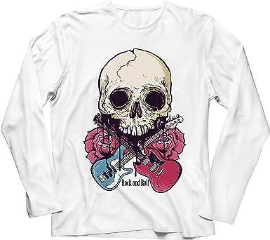 lepni.me Camiseta de Manga Larga para Hombre Guitarras, Calavera, Rosas - Amantes del Concierto de Rock & Roll