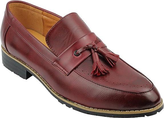 Los Hombres De Cuero Forrado Granate Negro Borla Holgazán Inteligente Casual Deslizamiento En Los Zapatos De Conducción