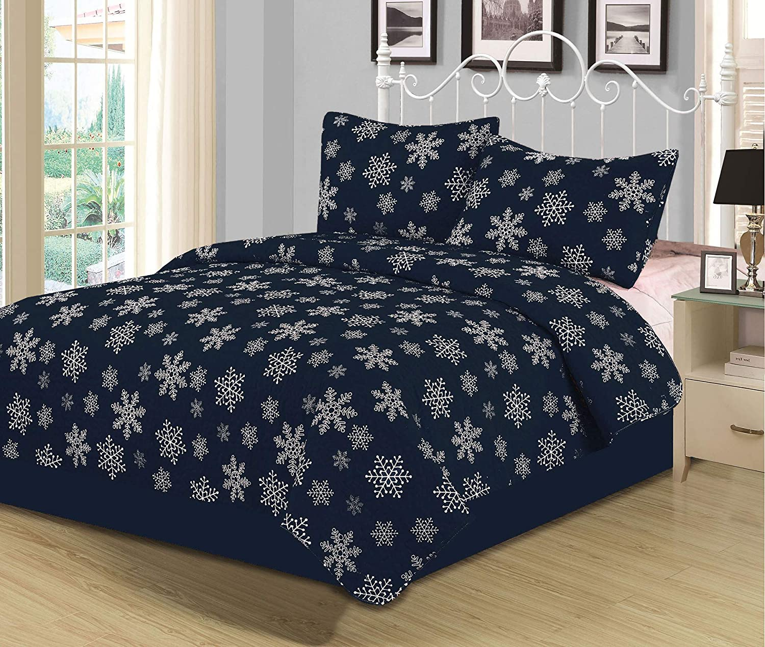 Twin Snowflake Quilt Bedding Set Winter Holiday Christmas, Navy Blue White