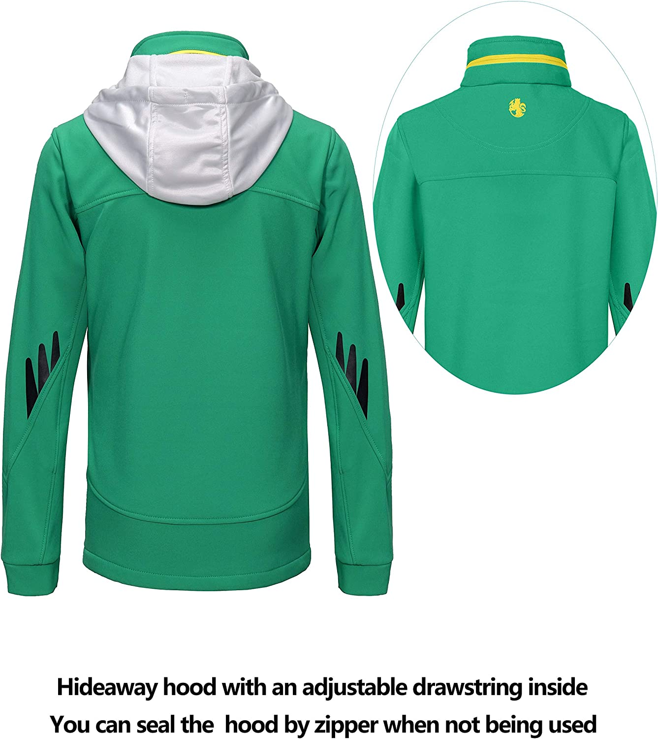 Windproof /& Water Resistant Little Donkey Andy Youth Boys Winter Hooded Softshell Jacket with Fleece Lining
