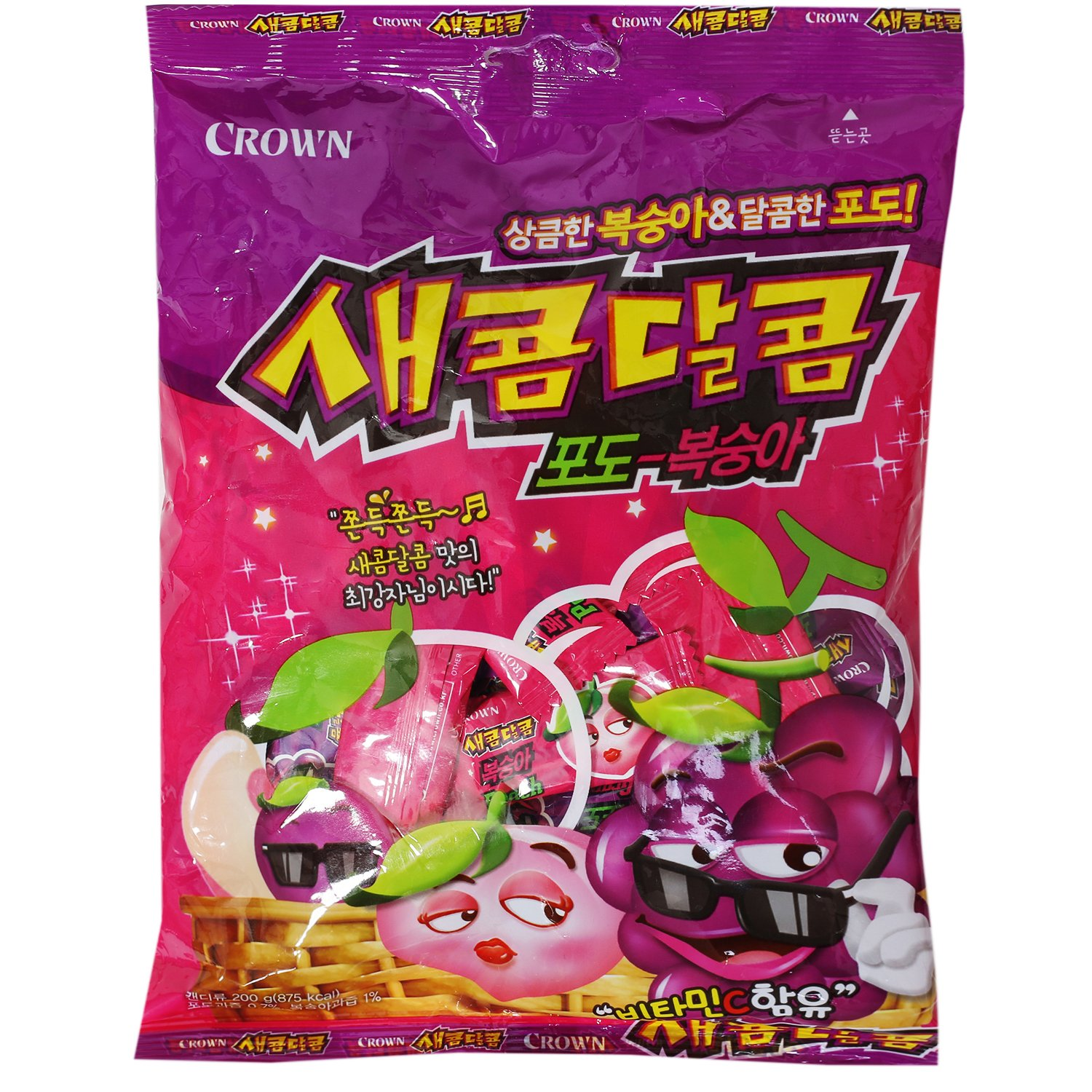 Korean Grape and Peach Flavored Chewy Sweet and Sour Candy 200g (1 Pack) by Crown