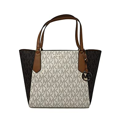 Michael Kors Kimberly LG Bonded Signature Tote Bag in Vanilla Brown Acorn   Amazon.co.uk  Shoes   Bags f29b5bb2734f8