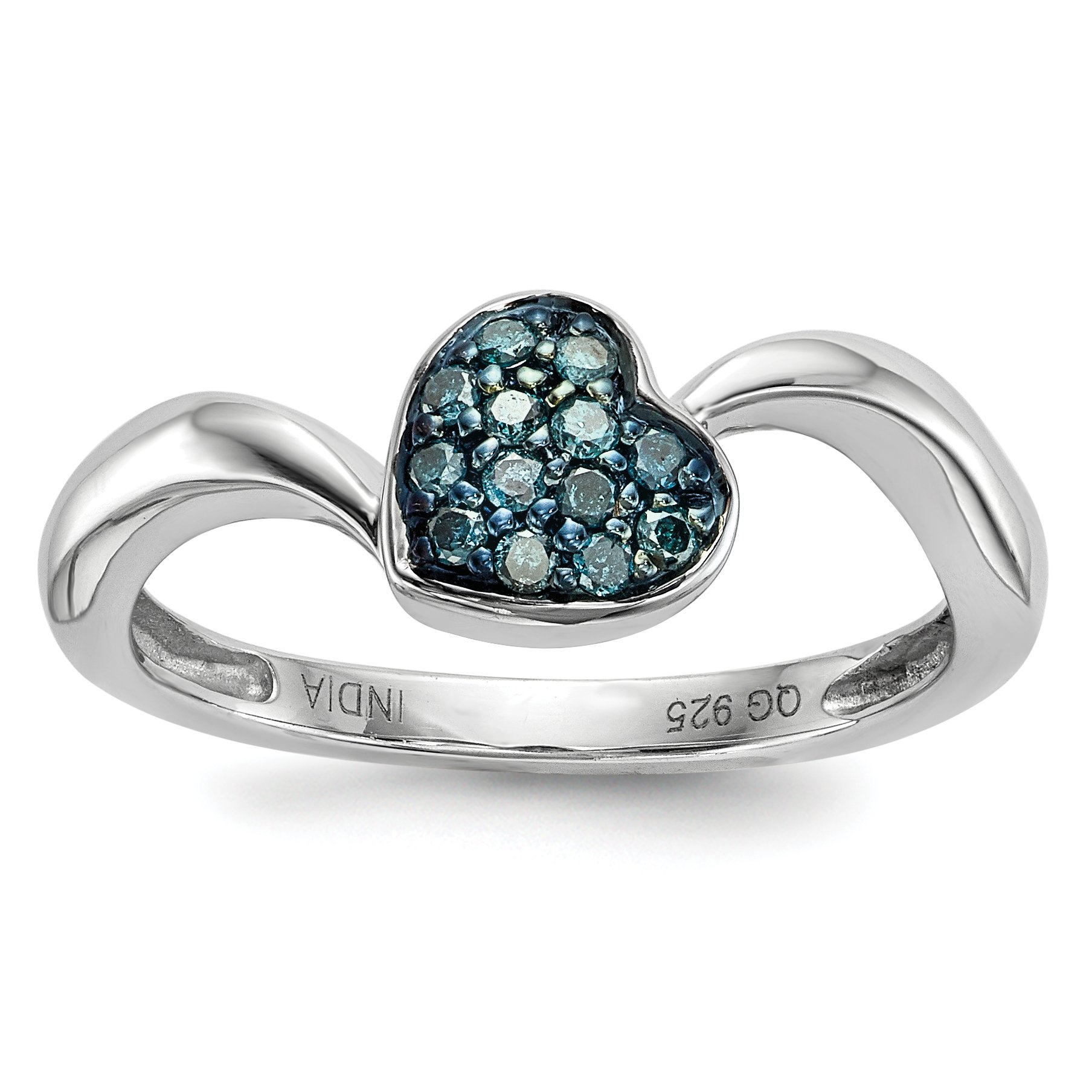 ICE CARATS 925 Sterling Silver Blue Diamond Small Heart Band Ring Size 7.00 S/love Fine Jewelry Gift Set For Women Heart