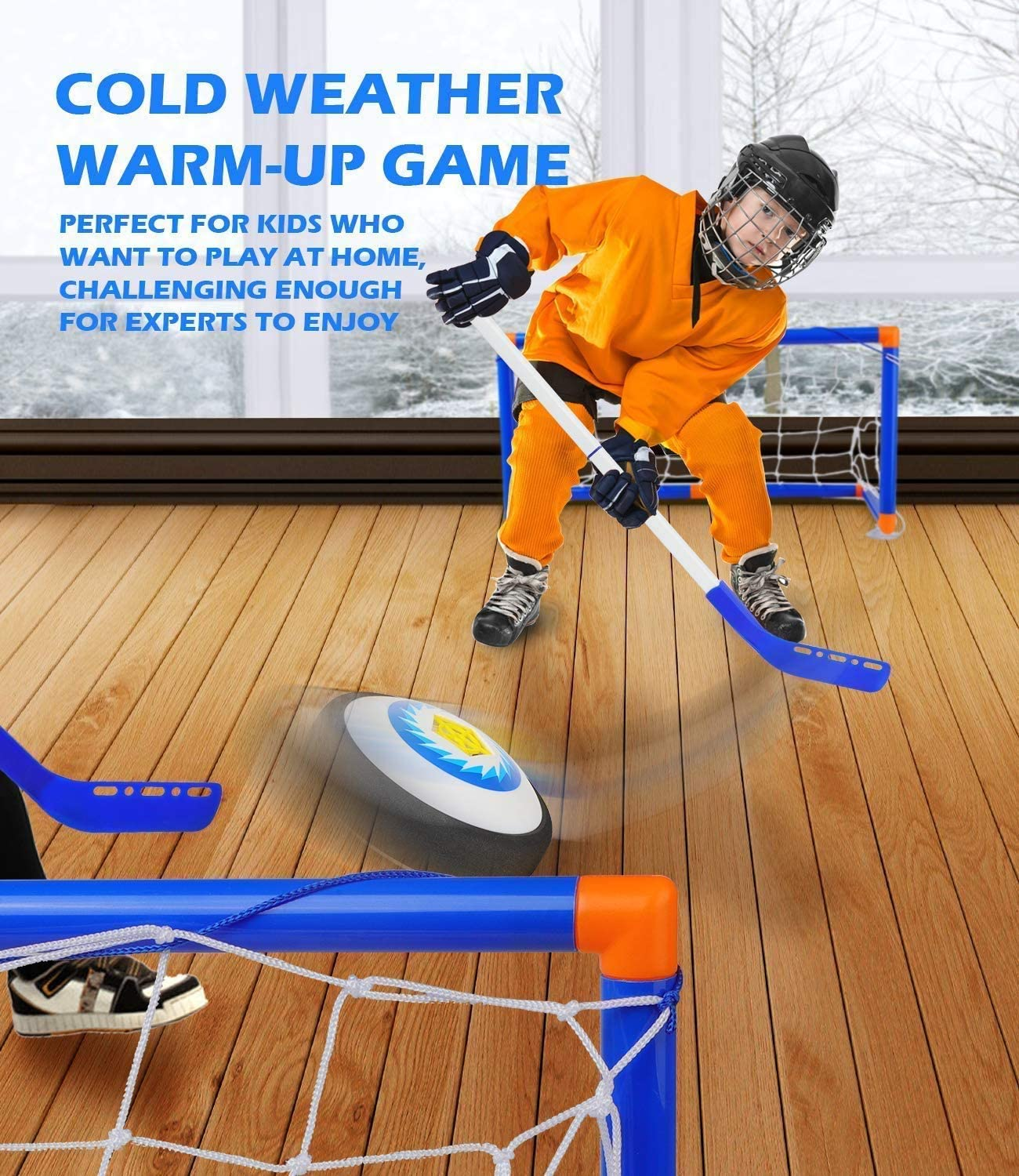 Indoor Sport Ball Games Best Birthday Gifts for Boys Girls Toddlers for 3 4 5 6 7 8 9 10 11 12 Years Old Kids Hockey Hover Ball Set Hover Soccer Ball Set with 2 Goals Air Soccer with LED Light