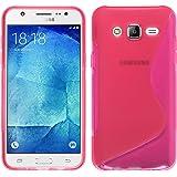 PhoneNatic Custodia Samsung Galaxy J5 (2015 - J500) Cover rosa caldo S-Style Galaxy J5 (2015 - J500) in silicone + pellicola protettiva
