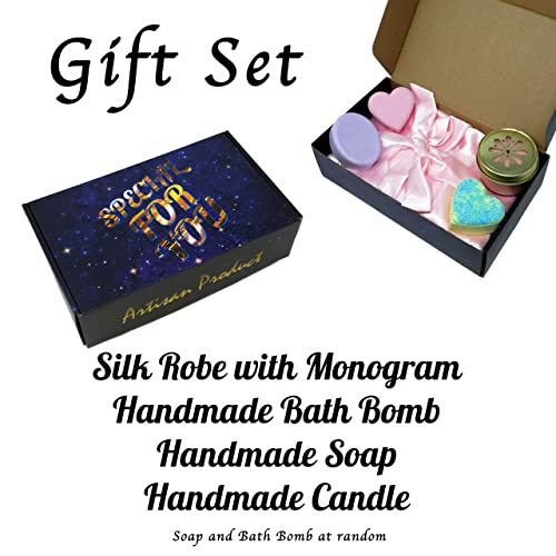 8f98d29256 Customized Silk Robe with Monogram - Handmade Bath Bomb - Handmade Soap -  Gift Set for