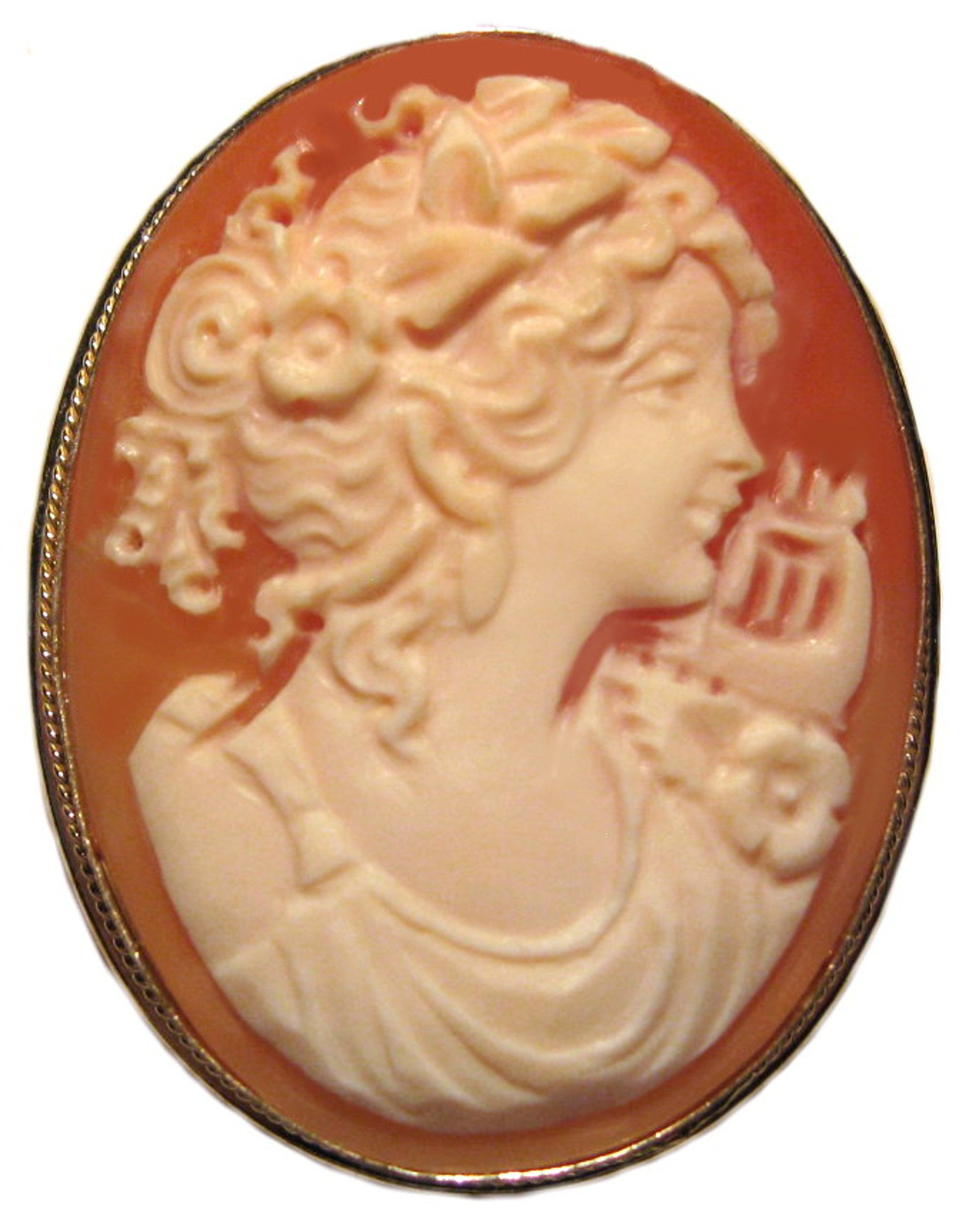 Autumn Love Cameo Brooch Pendant Enhancer Shell Sterling Silver 18k Gold Overlay Italian