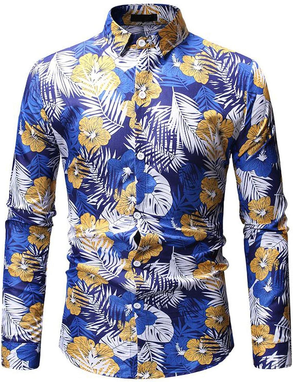Lu Studio - Camisa Hawaiana de Manga Larga para Hombre ...