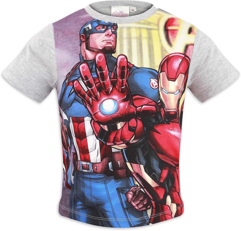 Marvel Avengers Maglia Maglietta T-Shirt a Maniche Corte Full Print Bambino Cotone