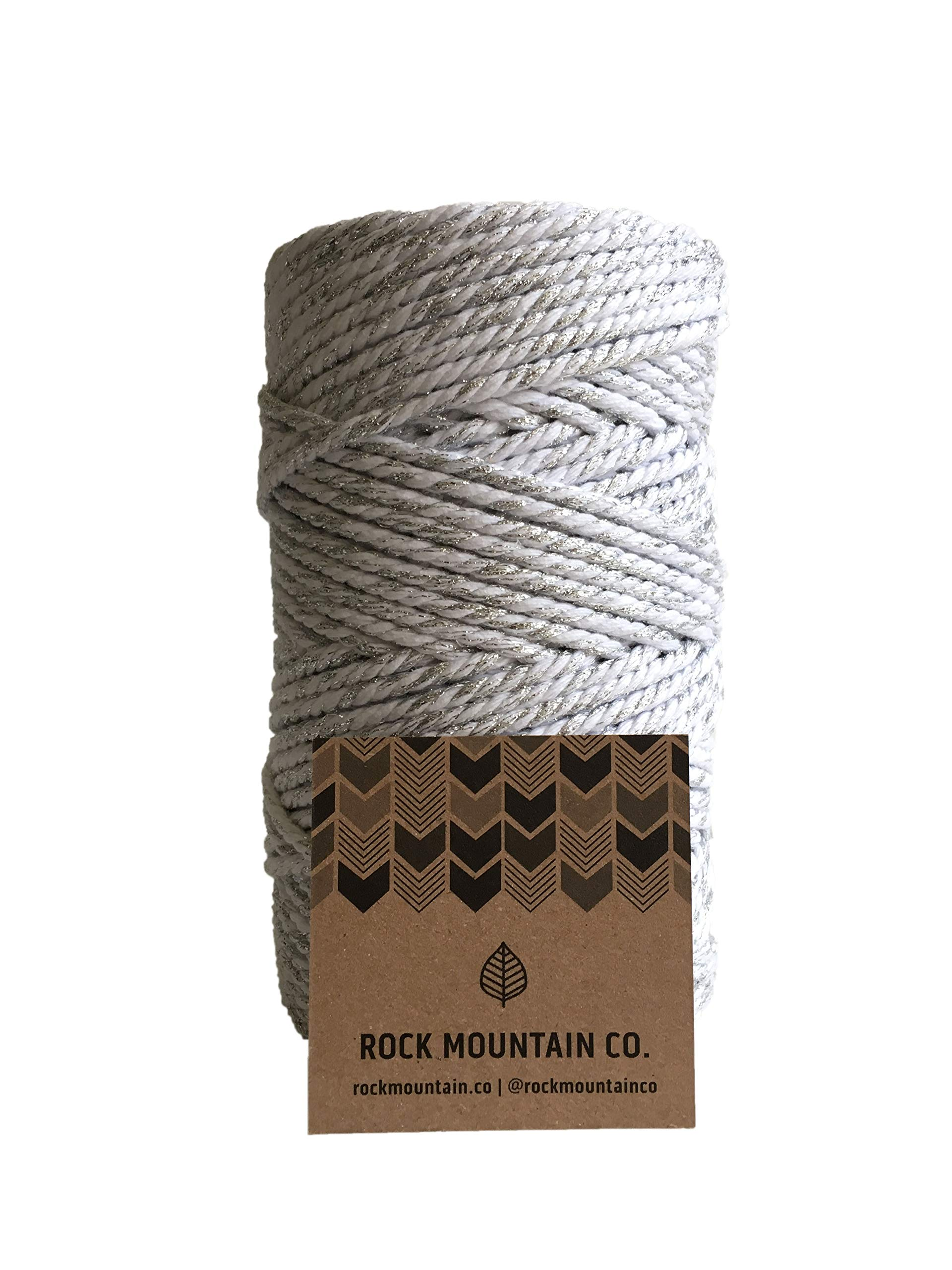 White and Silver Macrame Cord / 4mm 3 Strand Cotton Sparkle Fiber Art Rope/Gray Shimmer