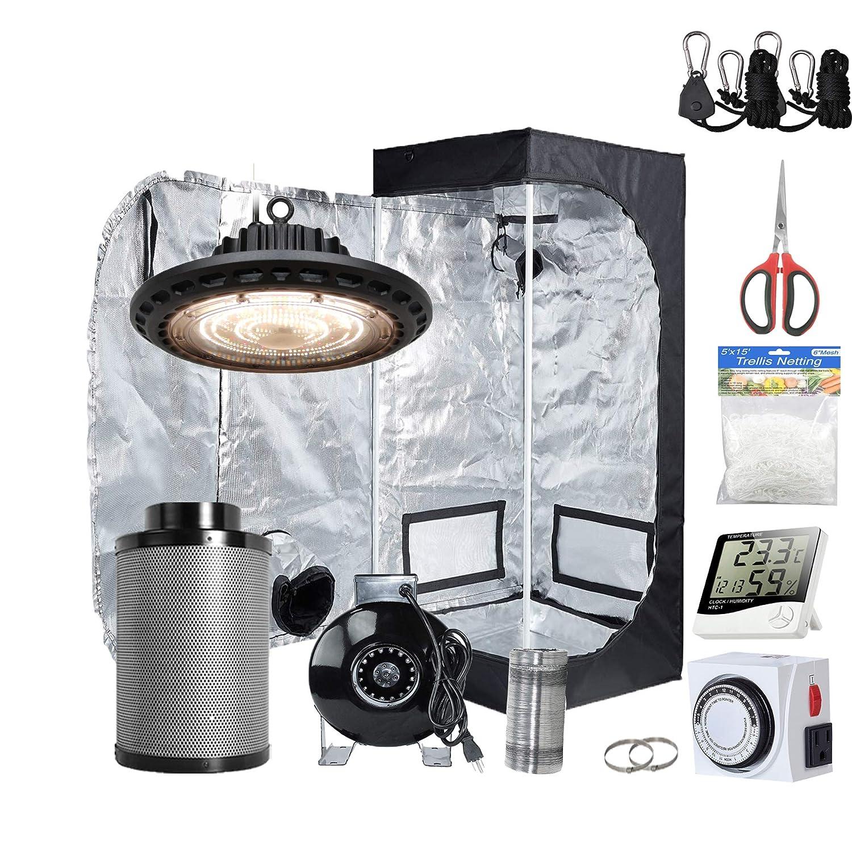 Oppolite UFO LED 300W Full Spectrum Grow Light 24 x24 x48 Indoor Grow Tent 4 Inline Fan Filter Combo Ventilation System Hydroponic Growing Accessories UFO LED300W 24 X24 X48 4 Fan Filter Kit