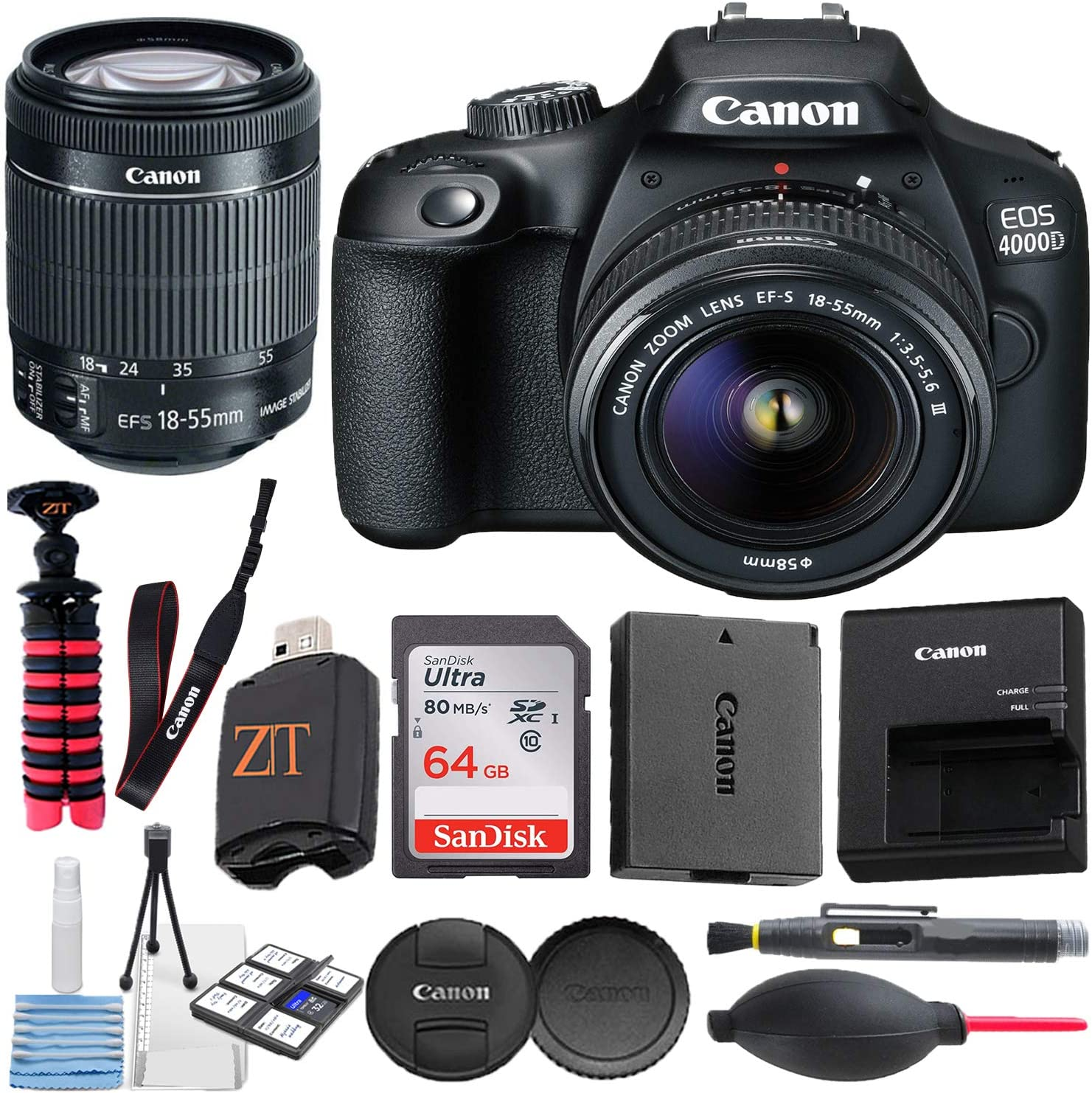 Canon EOS 4000D / Rebel T100 DSLR Camera w/ 18-55MM DC III Zoom Lens with Accessory Bundle + SanDisk 64GB Memory Card + Hi-Speed USB Card Reader + Spider Tripod (17 pcs Bundle)