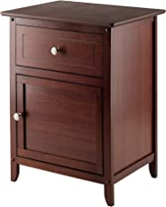 Winsome Wood Night Stand/Accent Table With Drawer And Cabinet For Storage,  Antique Walnut