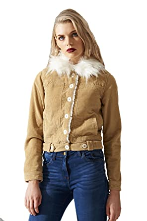 Womens Vintage Detachable Fur Padded Collar Sand Cotton Corduroy