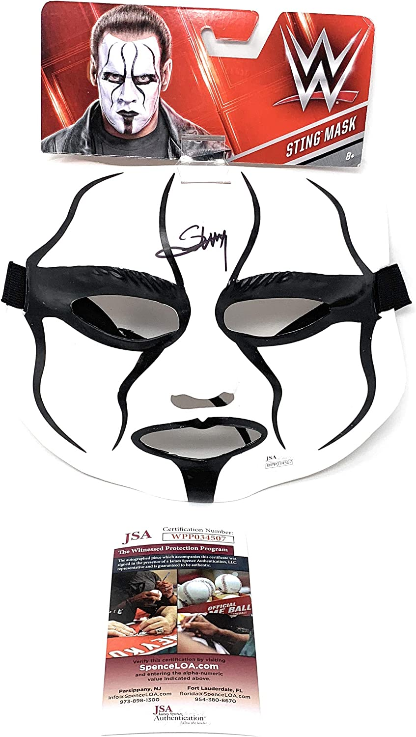PSA//DNA Certified Autographed Wrestling Miscellaneous Items Sting Signed Official Plastic Toy Mask COA WWE TNA WCW Wrestling Autod