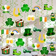 Tifeson St. Patrick's Day Decorations Hanging Swirls - 36 PCS Shamrock Clover Leprechaun Horseshoe Ceiling Foil Swirls for Lu