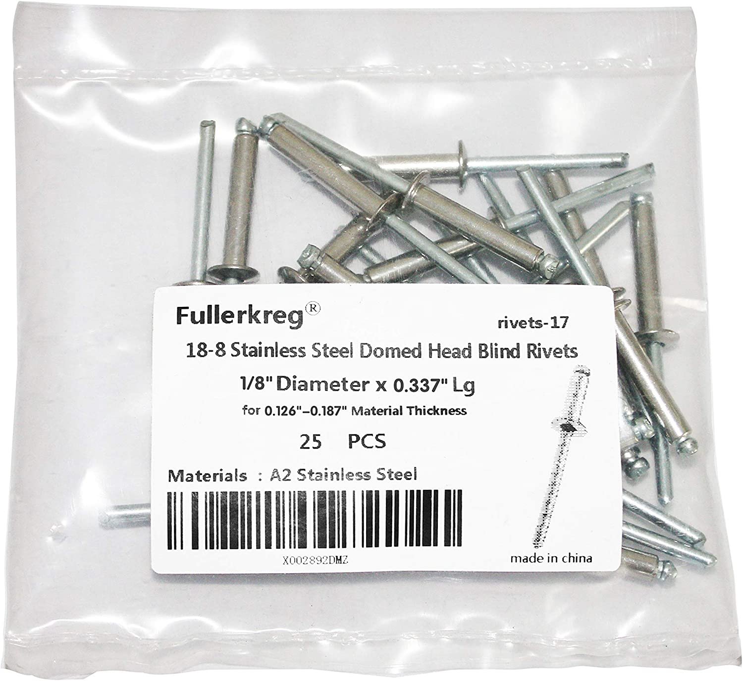 ,for 0.126-0.187 Material Thickness,18-8 Stainless Steel by Fullerkreg Blind Rivets 100 Pack 1//8 x 0.337 Inch Domed Head