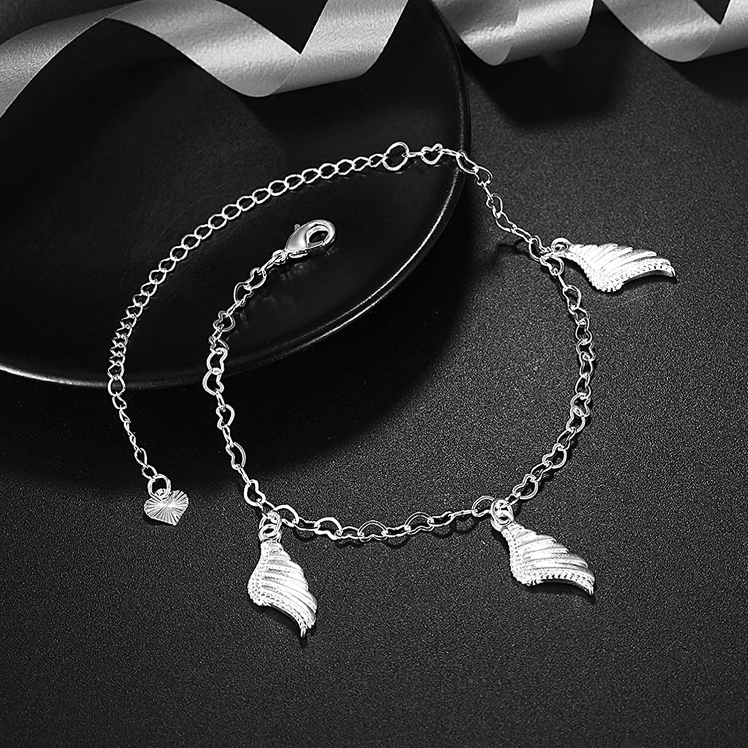 Bishilin Anklet Chain Jewelry Heart Angel Wings anklet chain 20 CM