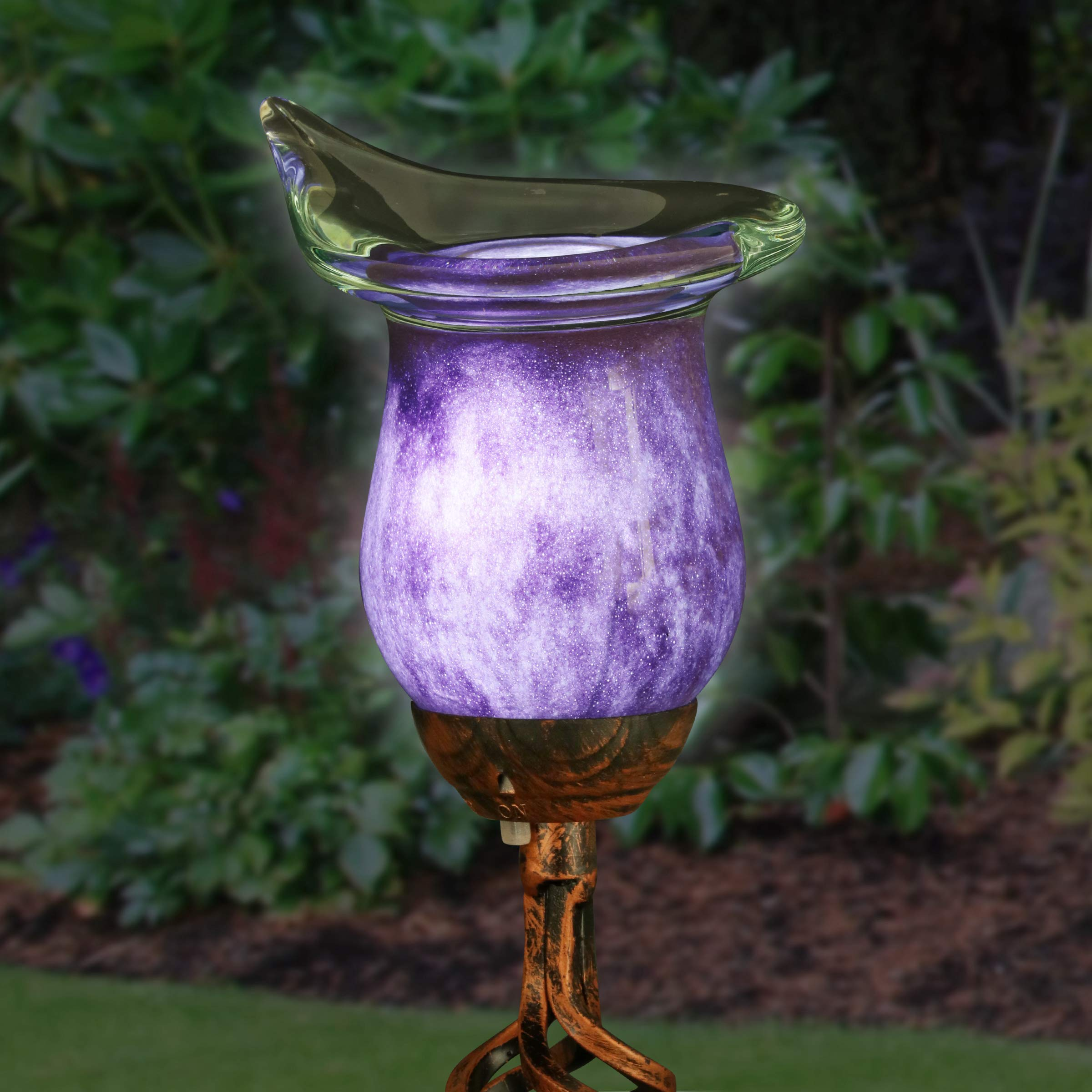 Exhart Purple Calla Lily Yard Stake w/Metal Finials - Solar Calla Lily w/LED Lights, Calla Lily Flower Outdoor Decor Lights, Elegamt Glass Flower Décor for Outdoors, 3'' L x 3.8'' W x 31'' H