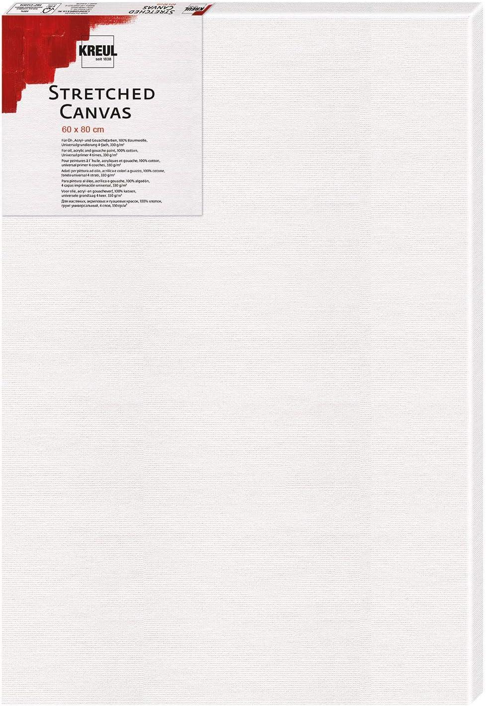 Leinwand aus Baumwolle 4 fach grundiert Stretched Canvas Keilrahmen 60 x 80 cm in Einsteigerqualit/ät Kreul 596080 ideal f/ür Acryl- und Gouachefarben