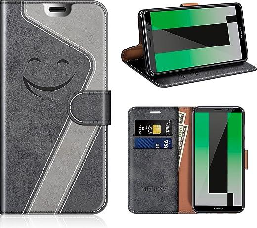 Mobesv Smiley Funda de cuero / Funda de billetera para Huawei Mate 10 Lite, Negro / Gris