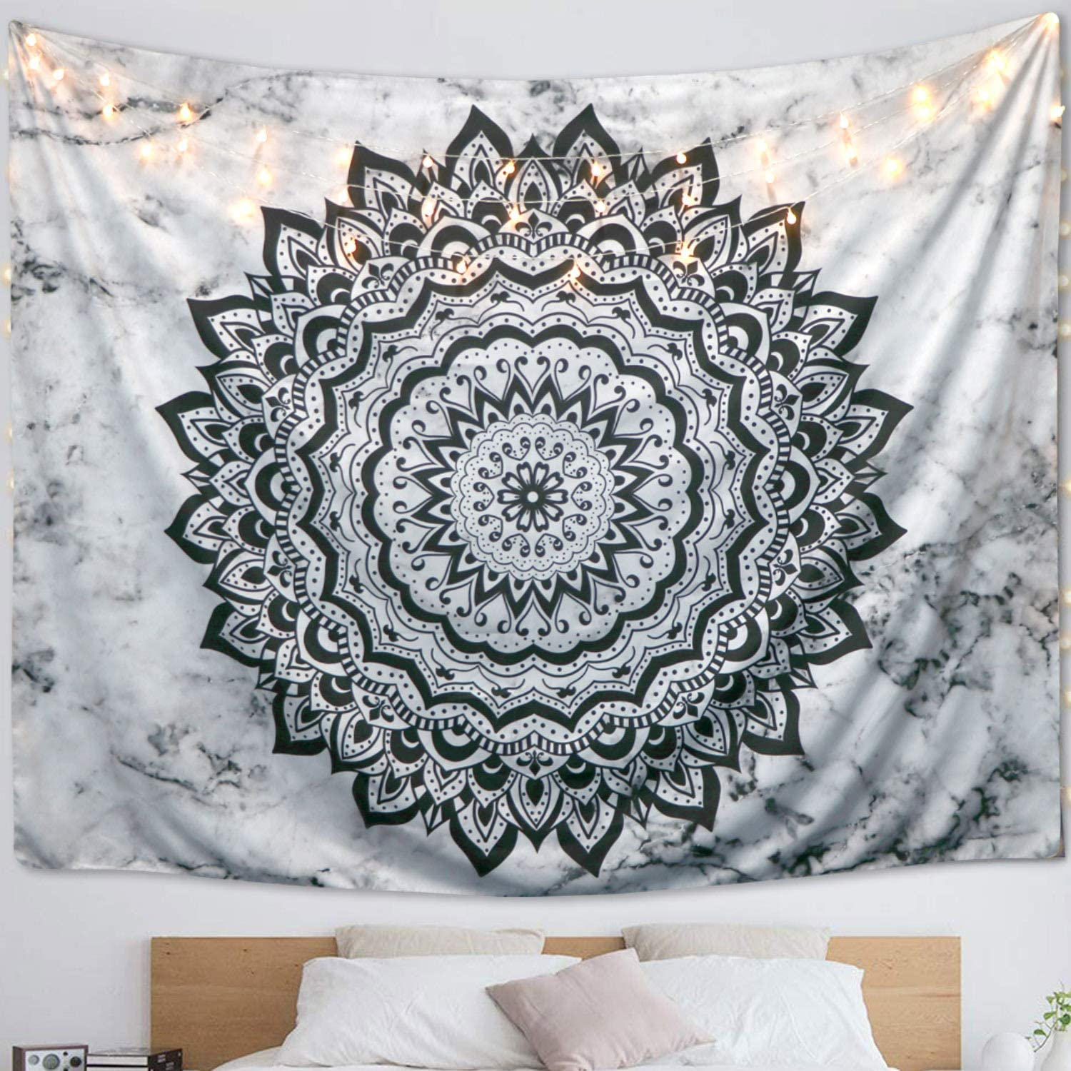 """BUUSKY Tapestry Wall Hanging Mandala Black and White Marble Wall Art Indian Hippie Bedding Dorm Decor Bedspread (50""""x60"""")"""