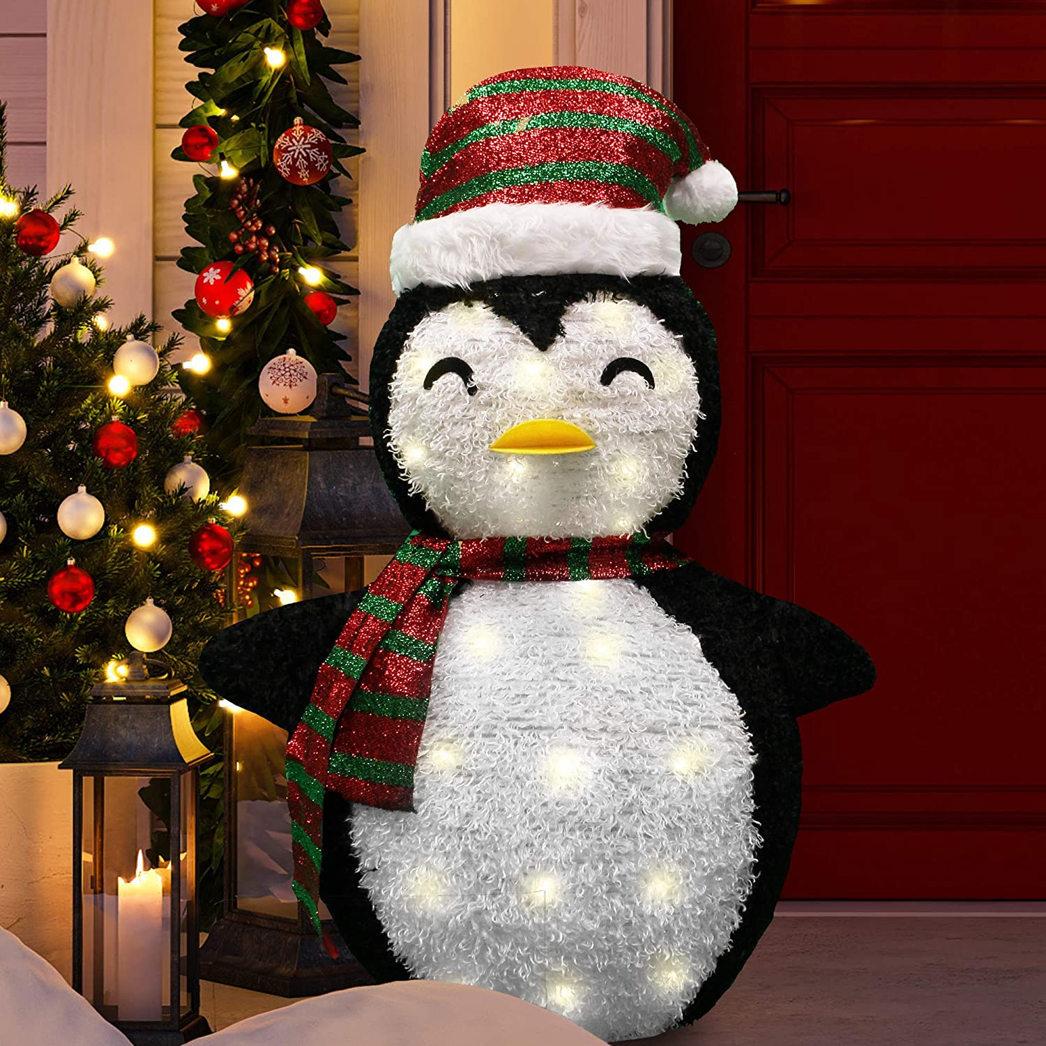 Joiedomi 3ft Tinsel Collapsible Penguin LED Yard Light for Christmas Outdoor Yard Garden Decorations, Christmas Event Decoration, Christmas Eve Night Decor