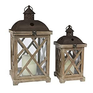 Stonebriar Decorative Wooden Hurricane Candle Lantern Set, Use As Decoration for Birthday Parties, a Rustic Wedding Centerpiece, or Create a Relaxing Spa Setting, For Indoor or Outdoor Use