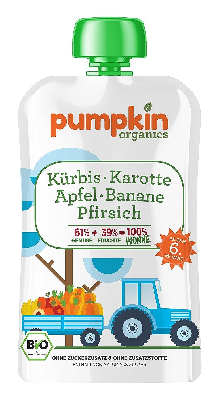 Pumpkin Organics 100g Bio Baby-Brei im Quetschbeutel aus Kürbis - Karotte mit Apfel - Banane und Pfirsich Babynahrung