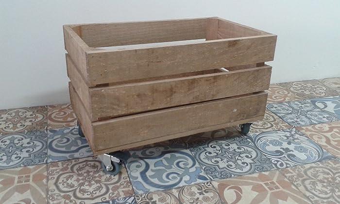 rebajas ofertas caja cajón de madera fruta pino envejecida con ruedas 50x30x32 rueda tipo industrias muy