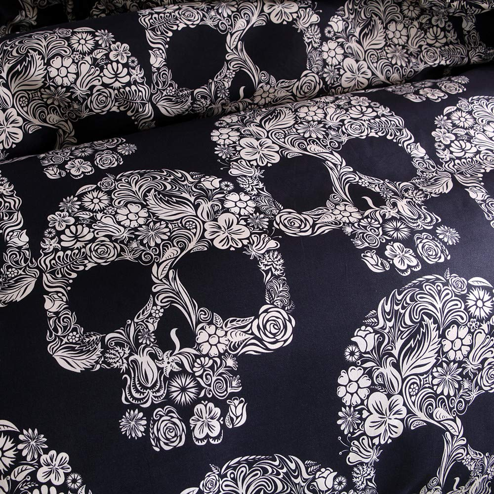 Skull Bedding Full Size 3D Printed Skeleton with White Flowers Duvet Cover Set Soft Microfiber Generous Luxury Comforter Cover Fashion Bedroom Decoration 3Pcs 1 x Quilt Cover+2 x Pillowcases