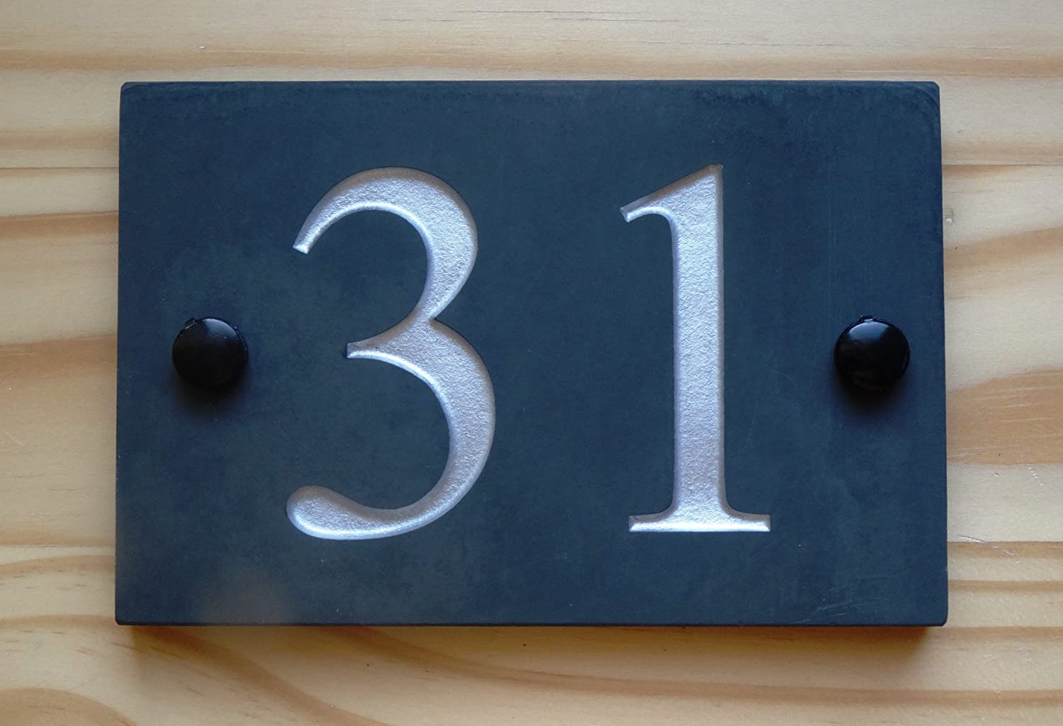 High Quality Natural Honed Slate Deep Engraved House Door Gate Number Sign Plaque 1-9999 (10 x15cm up to 2 digits only, Gold) ukgifts