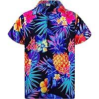 KAMEHAMEHA King Kameha Funky Hawaiian Shirt Men Shortsleeve Frontpocket Hawaiian-Print Leaves Flowers Pineapple