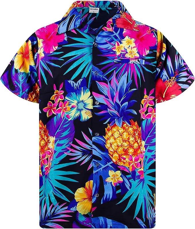 Camisa hawaiana para hombre King Kameha dise/ño casual con botones muy ruidosos y flores de leopardo unisex