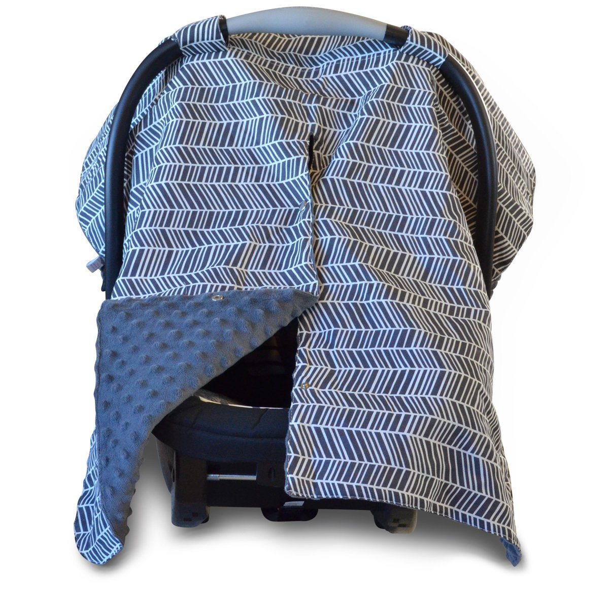 2 in 1 Carseat Canopy and Nursing Cover Up with Peekaboo Opening | Large Infant Car Seat Canopy for Girl or Boy | Best Baby Shower Gift for Breastfeeding Moms | Grey Herringbone Pattern and Blue Minky Kids N' Such HERRINGBONE-BLUE