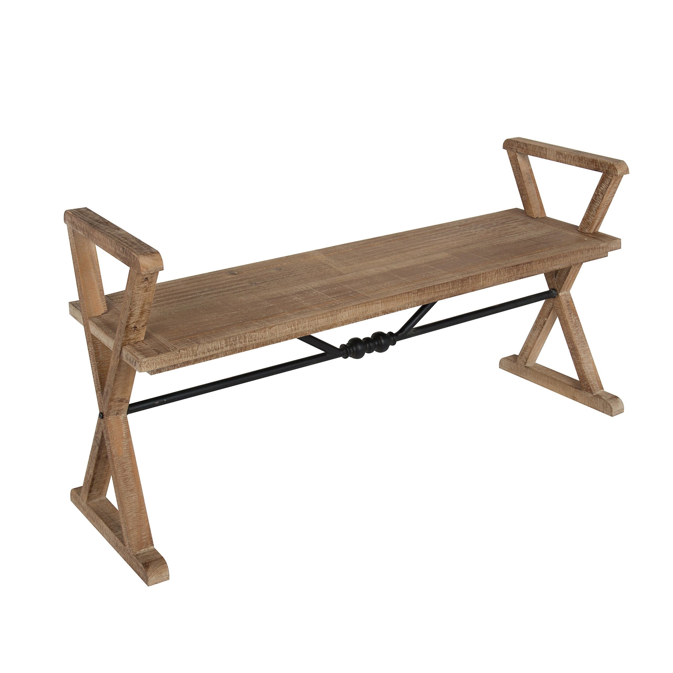 Kate and Laurel Travere Wood Bench, Rustic Finish with Ornate Black Painted Metal Support Bar
