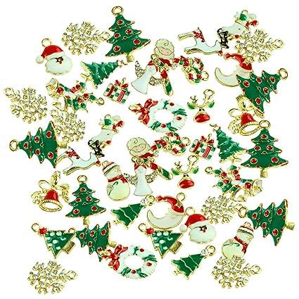 48pcs mixed style christmas tree snowman snowflake deer bell diy enamel christmas charms decorations pendants - Christmas Charms