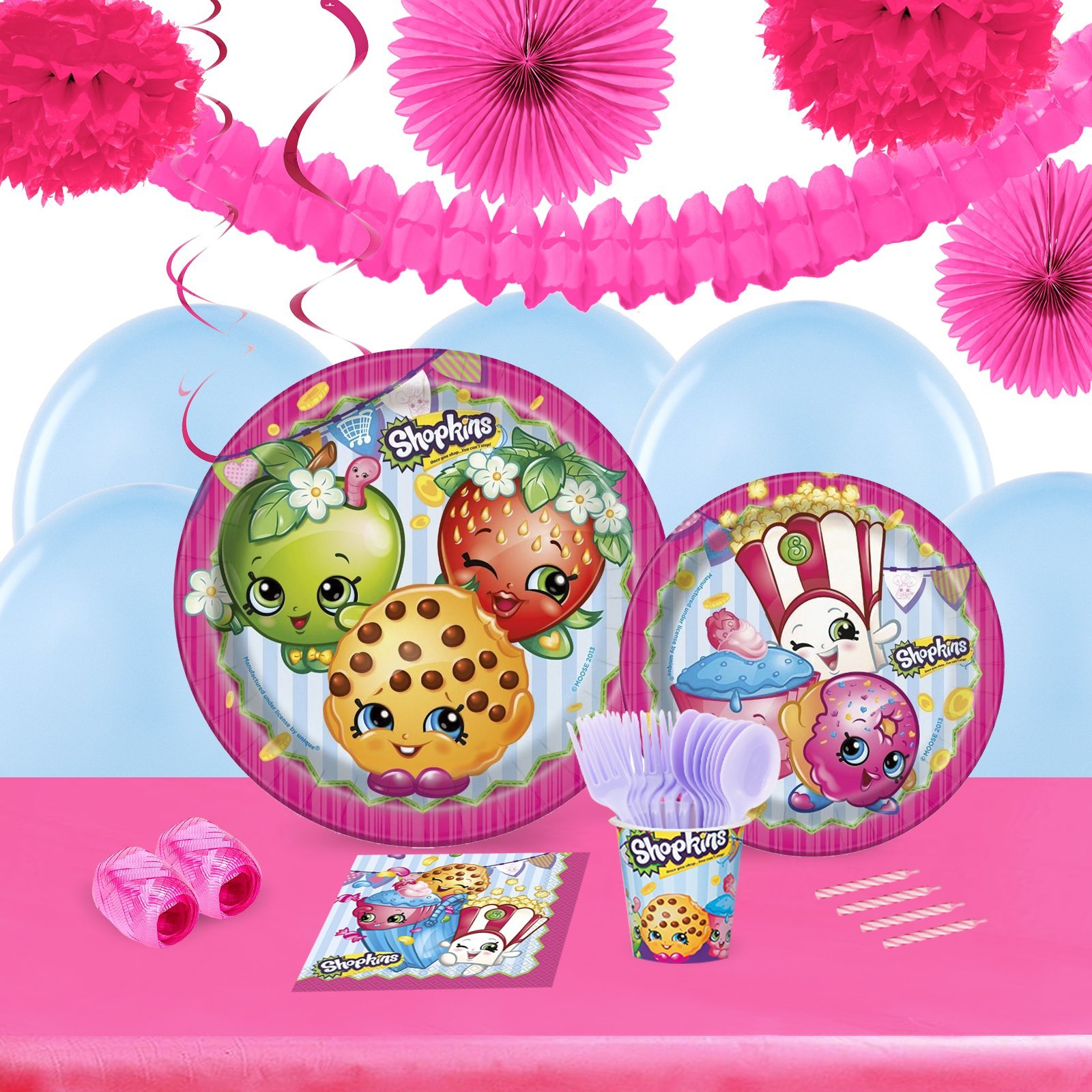 Shopkins Childrens Birthday Party Supplies - Tableware and Decoration Pack (16)