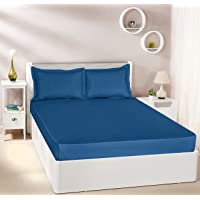 Amazon Brand - Solimo Solid 144 TC 100% Cotton Double Bedsheet with 2 Pillow Covers