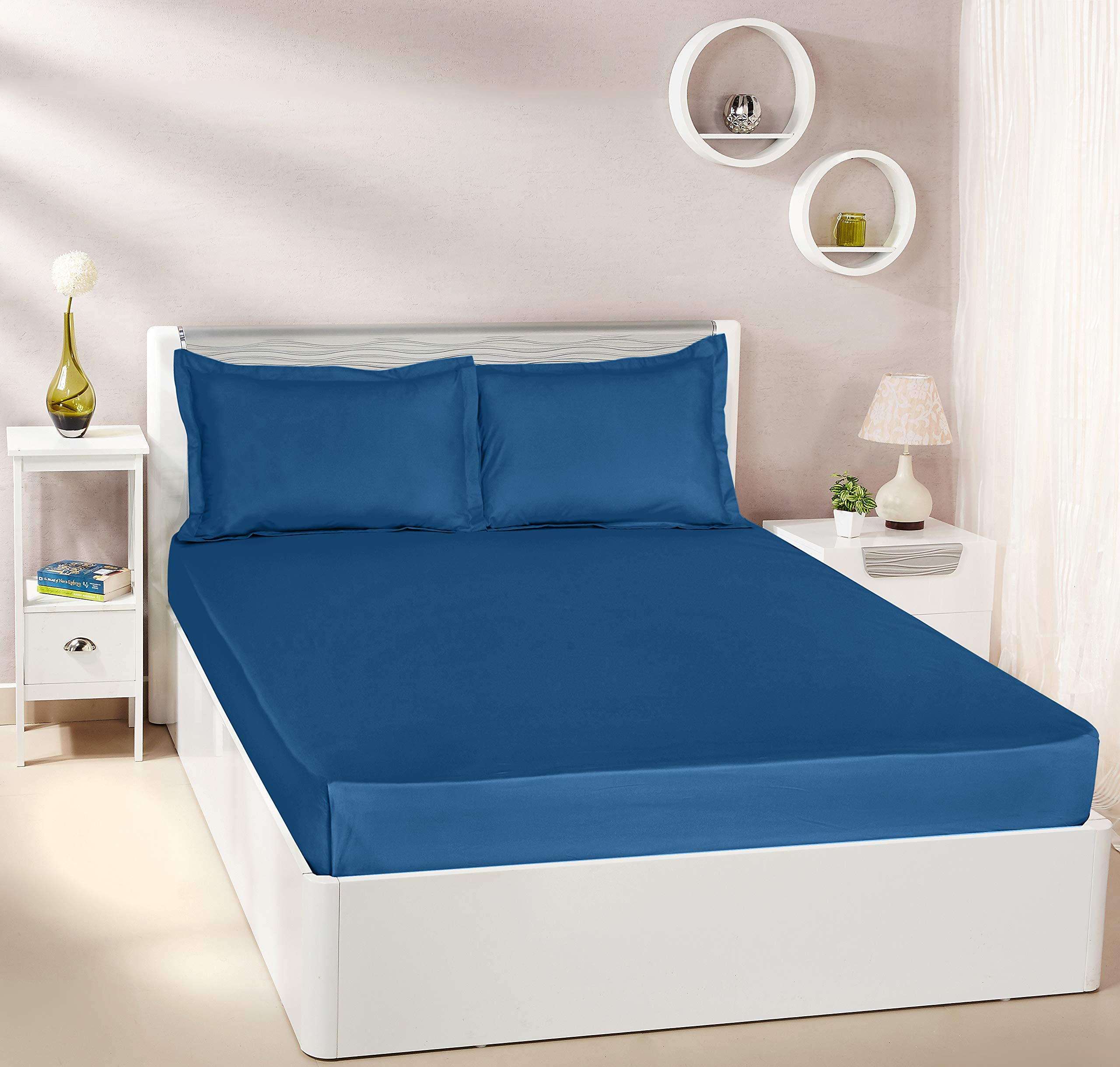Amazon Brand - Solimo Solid 144 TC 100% Cotton Double Bedsheet with 2 Pillow Covers, Navy Blue product image