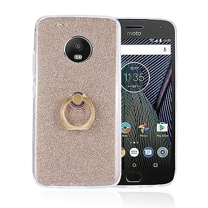Funluna Moto G5 Plus Funda Dedo, Carcasa de Glitter Bling Silicona con 360 Grados Rotating Soporte Anti-Gota Anillo Bumper Case para Motorola Moto G5 ...