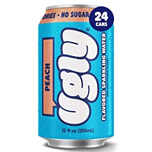 Ugly Drinks Peach Sparkling Water, 24 Pack, 12oz Cans, Sugar Free Flavored Seltzer Water with No Sugar, Sweeteners, Calories, or Artificial Flavoring