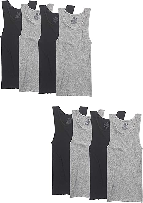 Amazon Com Fruit Of The Loom Men S Big And Tall Size Super Value Athletic Shirt Pack Of 8 Clothing