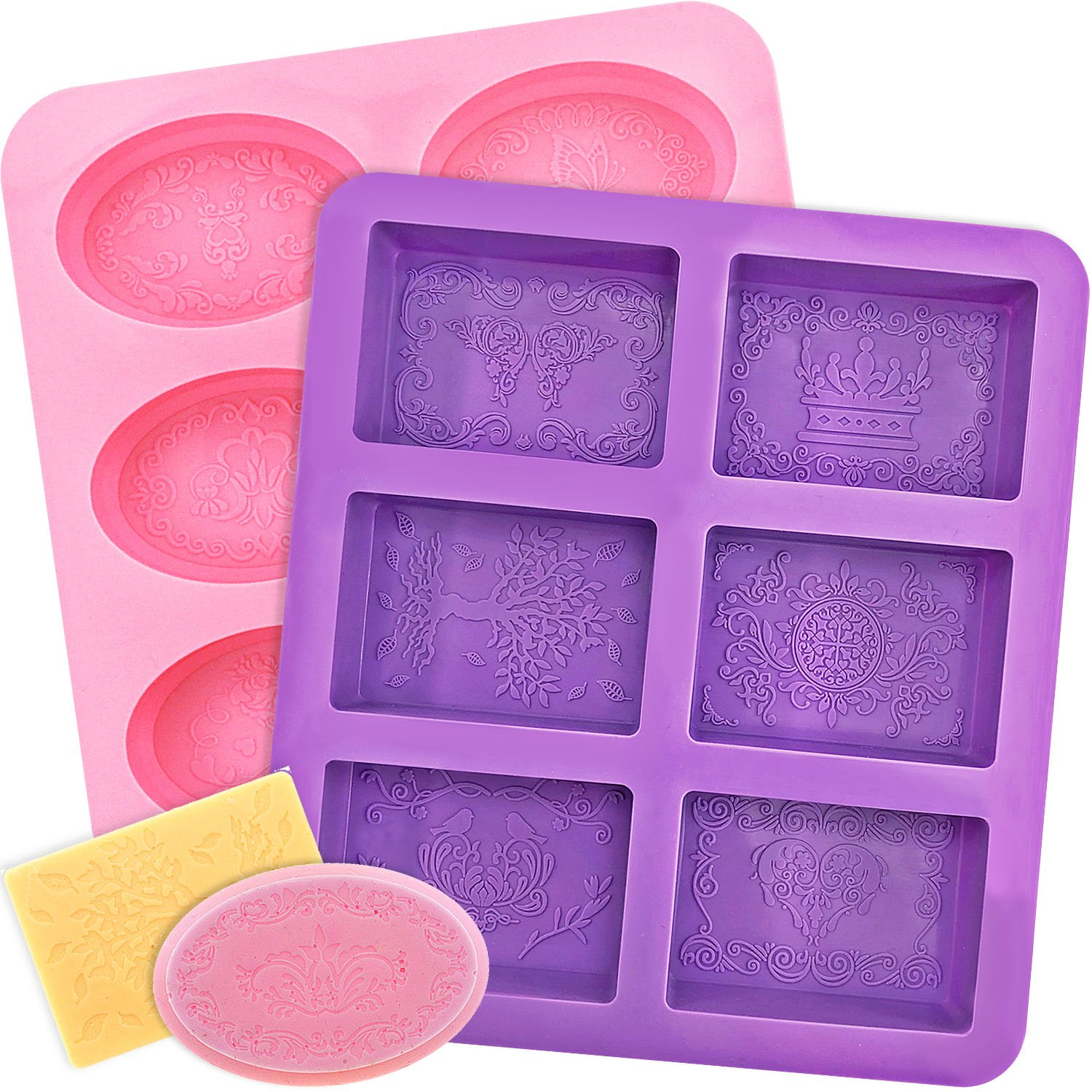YGEOMER Silicone Soap Mold, 2pcs 6-Cavity Square and Oval Baking Molds for Making Soaps, Ice Cubes, Jelly (Purple & Pink, Square & Oval) by YGEOMER