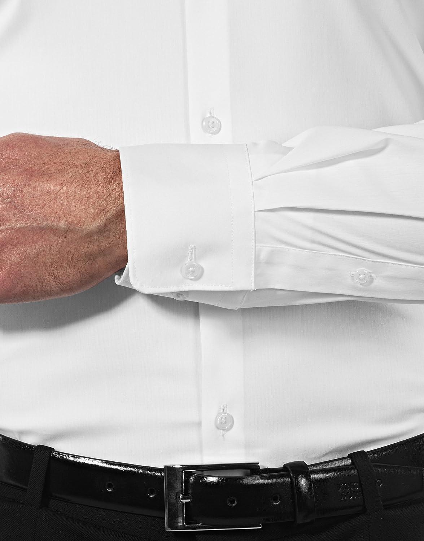 Vincenzo Boretti Camicia Elastica Uomo Eleganti Easy Iron Stretch Manica Lunga Collo Classico Extra Slim-Fit in Tinta Unita Facile da Stirare Taglio Molto Aderente