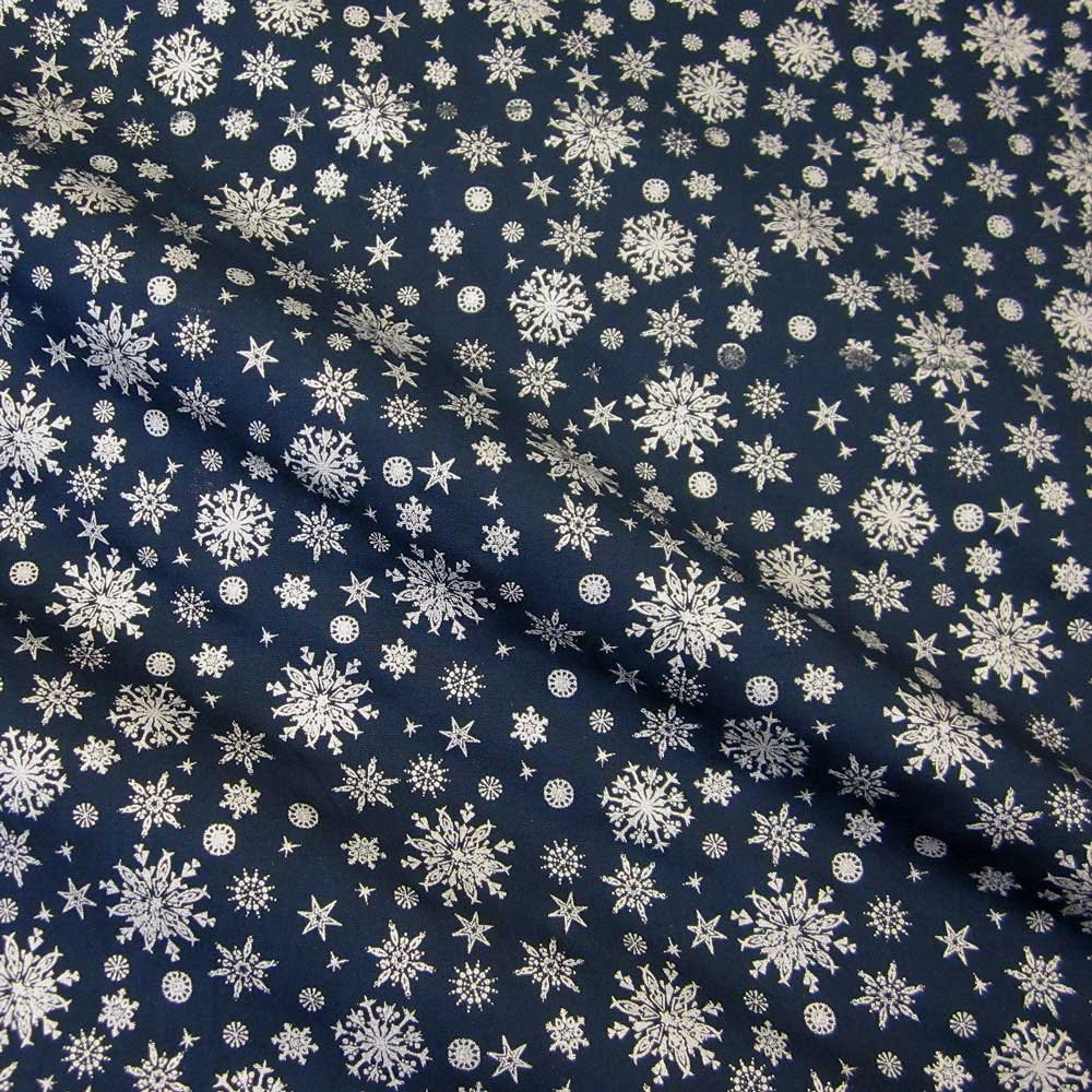 Stoff Baumwollstoff marine silber Eiskristall Schneeflocken blau ...