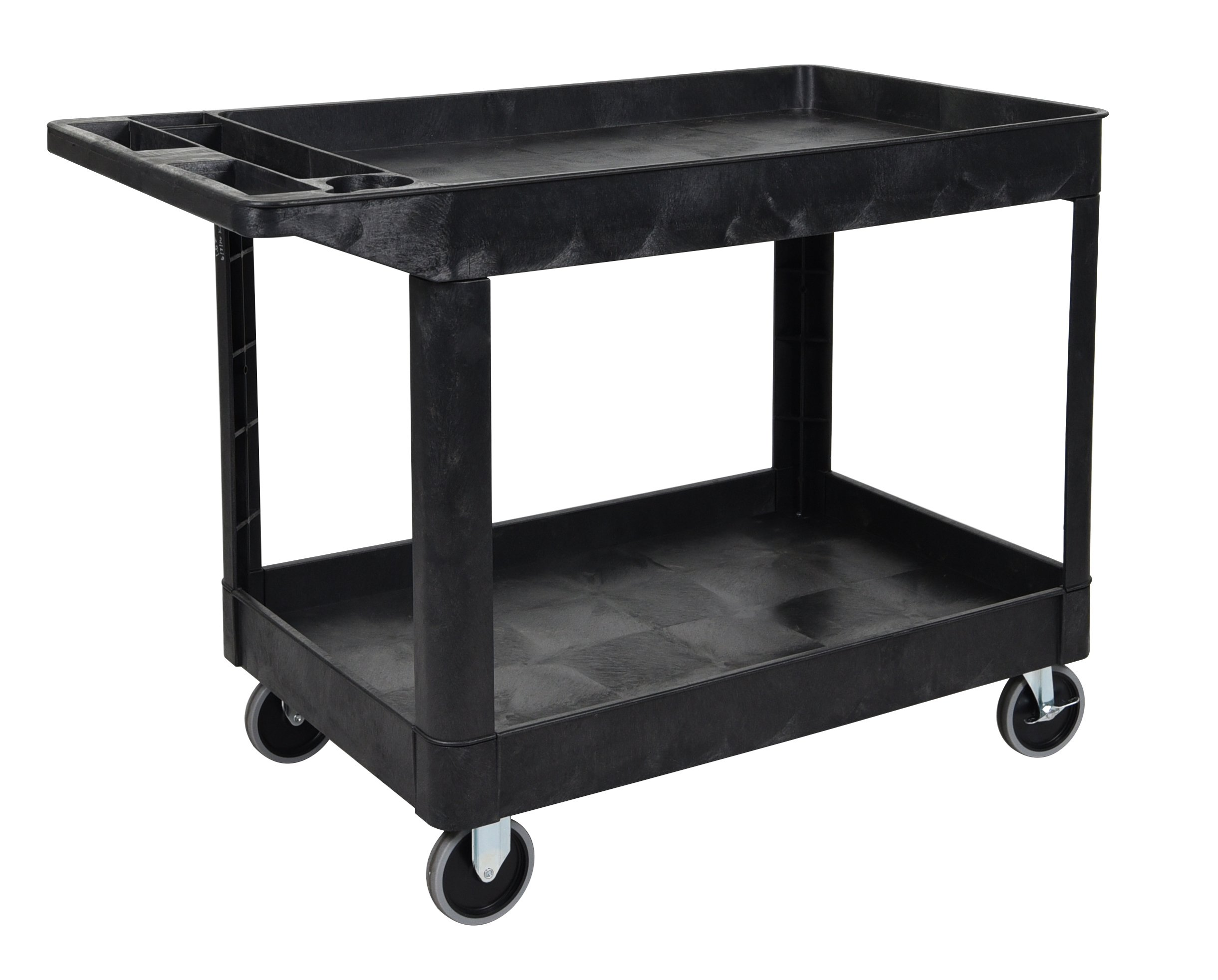 Luxor XLC11-B Two Shelf Heavy-Duty Utility Cart - Black