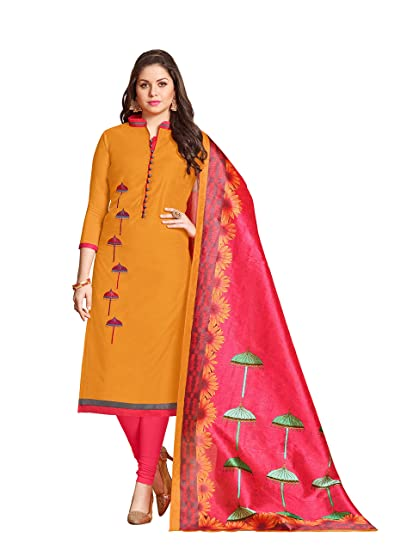 847121ac0b Kimisha Ethnicwear Mustard Chanderi Embroidered Unstitched Salwar suit with  Printed Dupatta: Amazon.in: Clothing & Accessories