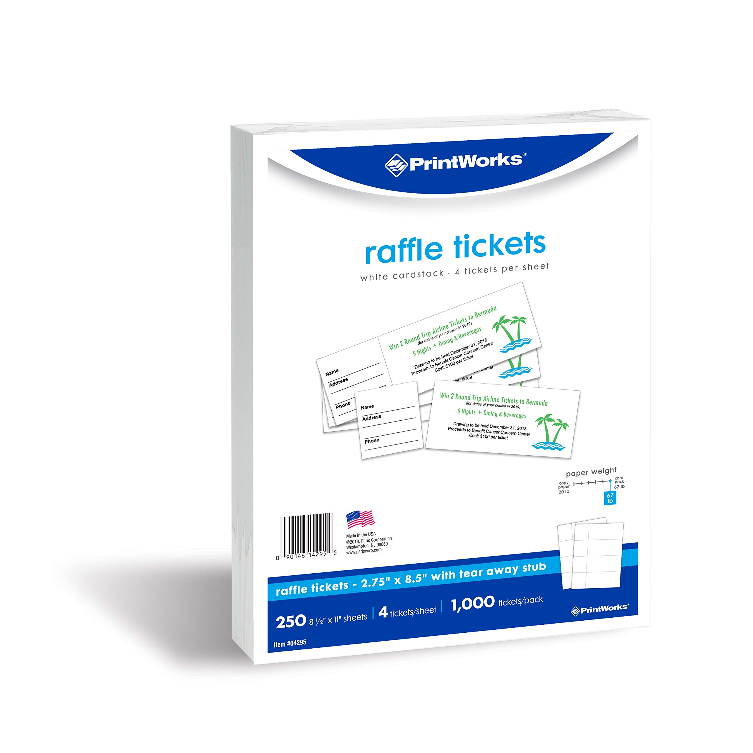 PrintWorks Heavyweight Perforated Cardstock for Raffle Tickets, Coupons, and More, Tear-Away Stubs, 8.5 x 11, 67 lb, 4 Tickets Per Sheet, 250 Sheets, 1000 Tickets Total, White (04295) (2.75 x 8.5)