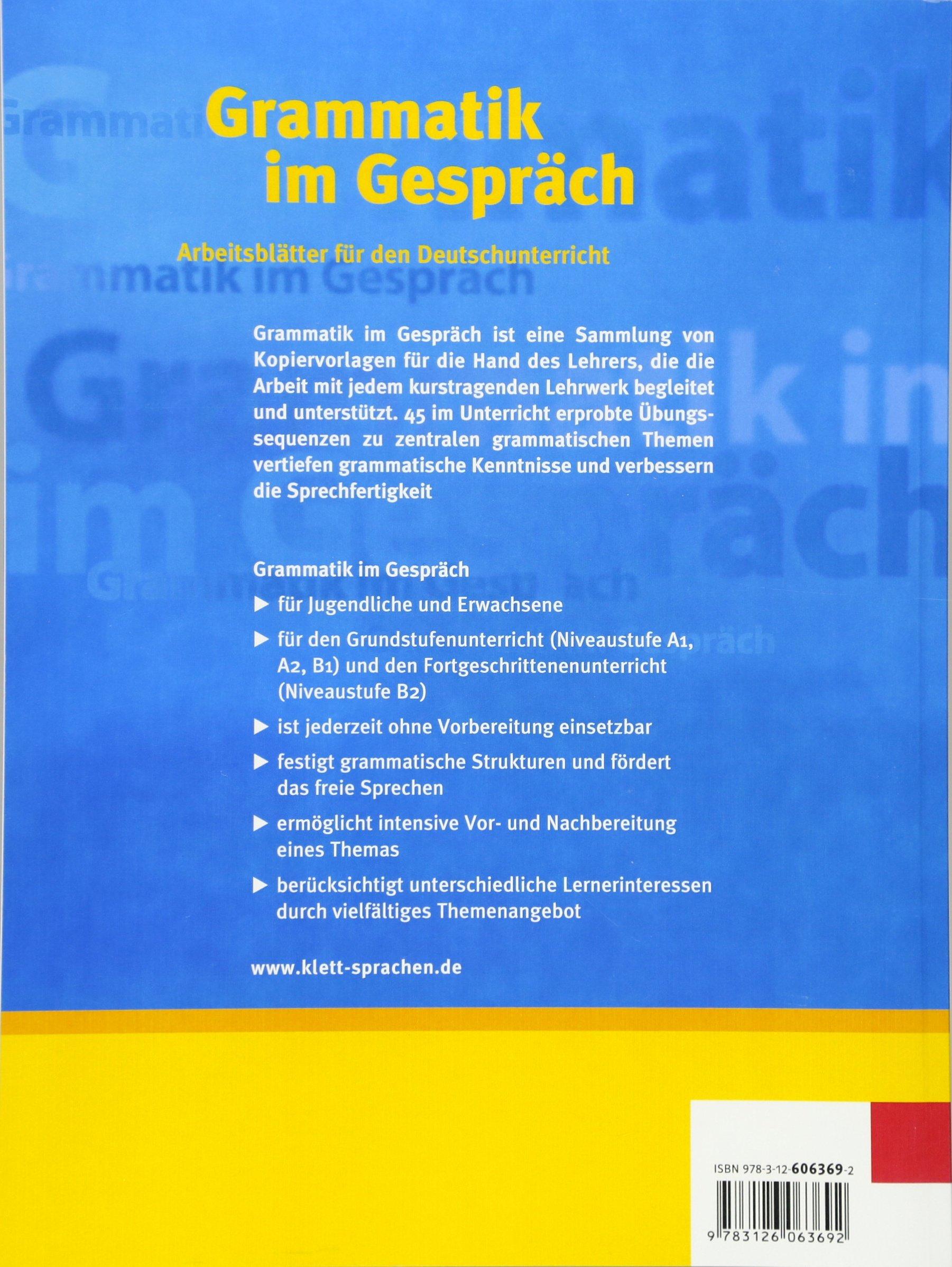 Grammatik Im Gespräch Arbeitsblätter Für Den Deutschunterricht